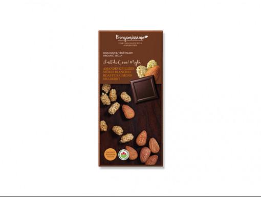 Tablette de Chocolat, Amandes Grillées et Mûres Blanches Vegan