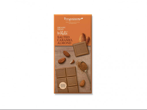 Tablette de Chocolat Blanc et Caramel Salé Vegan