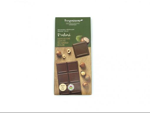 Tablette de Chocolat au Lait de Coco Praliné Sans Sucre Vegan